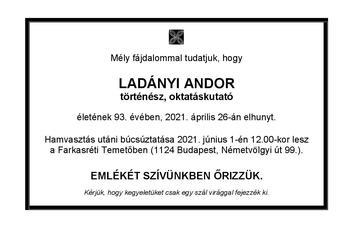 Elhunyt Ladányi Andor történész, oktatáskutató